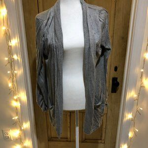 Gray Ruched Sleeve Cardigan
